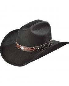 Scala Men's Black Cattleman Crushable Leather Inlay Hat
