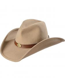 Scala Men's Taupe Pinchfront Crushable Concho Hat