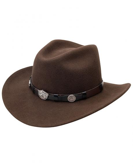 Jack Daniel's Men's Brown Crushable Wool Scalloped Concho Band Hat