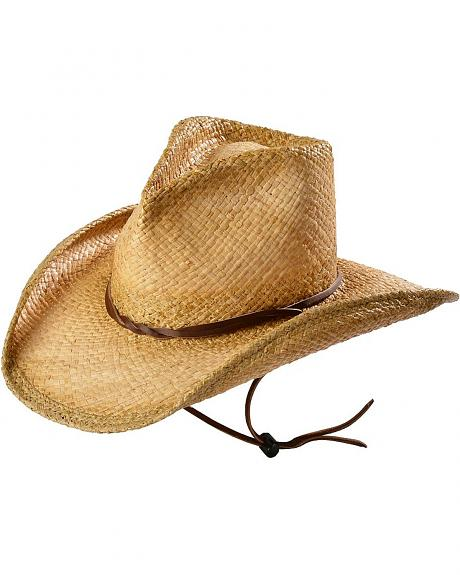 Shady Brady Raffia Straw with Chin Strap Cowboy Hat