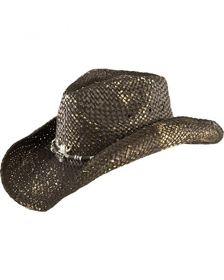 Scala Skull Black Straw Cowboy Hat