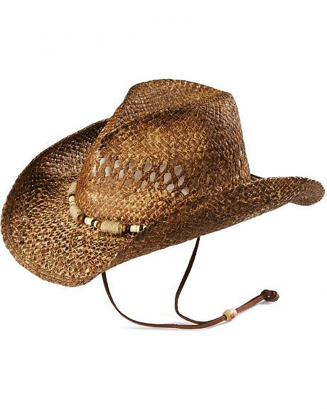 Kenny Chesney Jute Wrap Distressed Straw Cowboy Hat