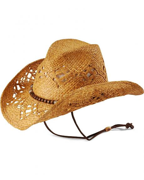 Kenny Chesney Wood Bead Open Weave Straw Cowboy Hat