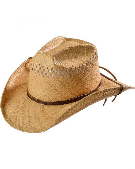 Shady Brady Leather Chin Cord Straw Cowboy Hat