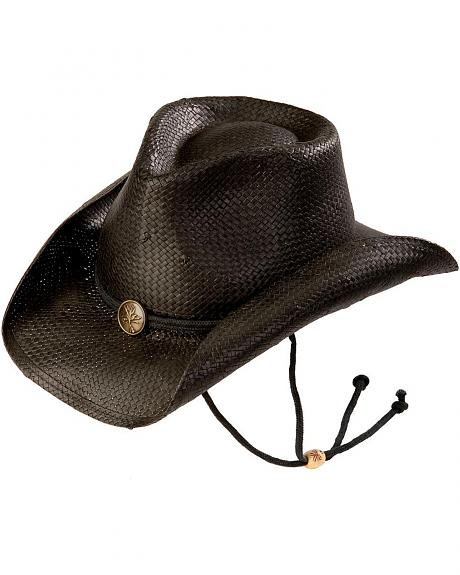 Kenny Chesney Black Weaved Straw with Drawstring Cowboy Hat