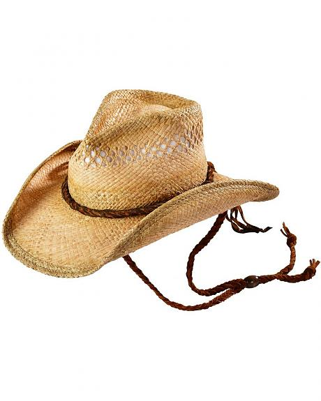 Shady Brady Suede Hat Band Raffia Straw Cowboy Hat