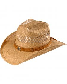 Shady Brady Piped Hat Band Raffia Straw Cowboy Hat