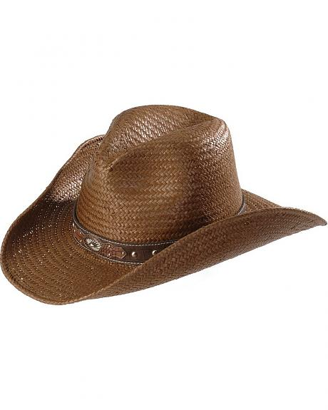 Scala Croc Print Concho Hat Band Straw Cowboy Hat