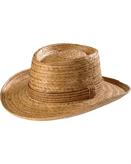 Scala Gambler Burnt Braid Straw Hat