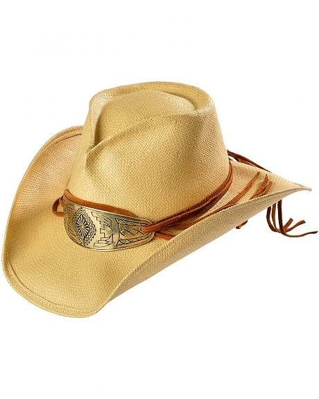 Shady Brady Native American Gold-Tone Concho Crushable Straw Cowboy Hat