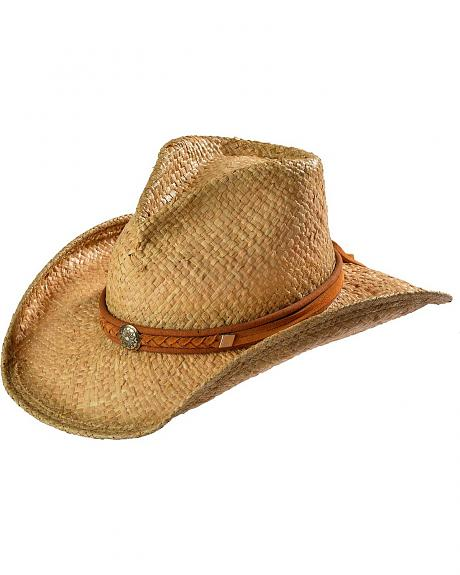 Shady Brady Braided Leather Suede Band & Sun Concho Crushable Straw Cowboy Hat
