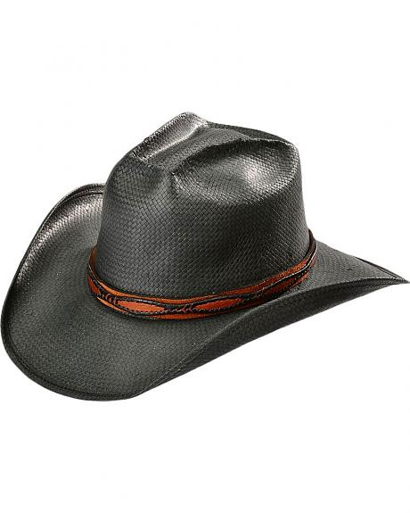 Shady Brady Black Crushable Straw with Brown Suede Leather Band Cowboy Hat