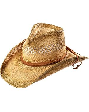 Shady Brady Crushable Straw with Leather Strand Band & Chin Strap Cowboy Hat