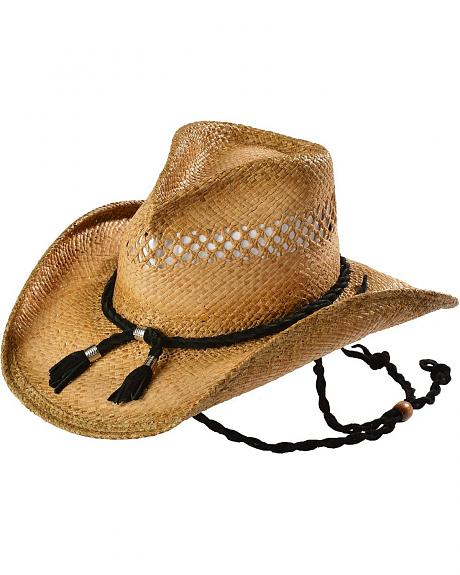 Shady Brady Crushable Straw Black Suede Band & Chin Strap Cowboy Hat