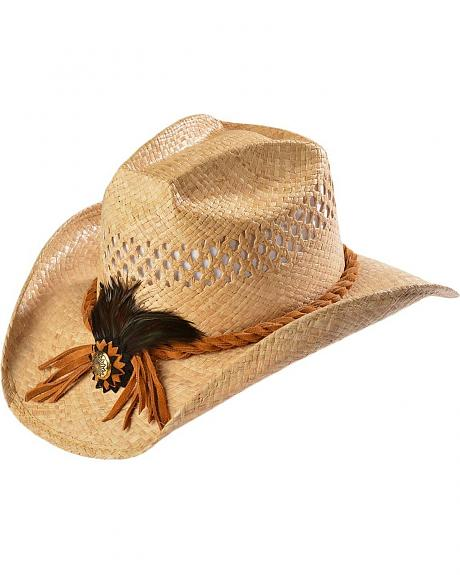 Shady Brady Crushable Straw Suede with Feather & Concho Band Cowboy Hat