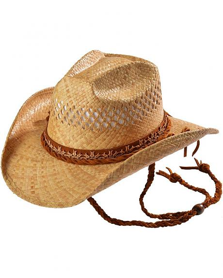 Shady Brady Crushable Straw Tulip Lace Band with Braided Chinstrap Cowboy Hat