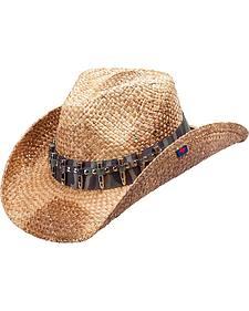 Peter Grimm Rex Camo Bullet Band Straw Cowboy Hat