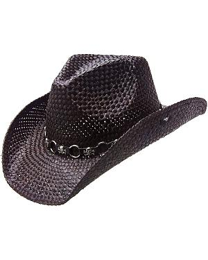 Peter Grimm Vado Skulls & Rings Hat Band Straw Cowboy Hat