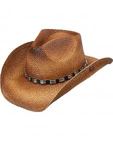 Peter Grimm Bret Studded Raffia Straw Cowboy Hat