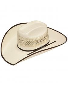 Twister 10X Shantung Brown Ribbon Bound Brim Straw Cowboy Hat