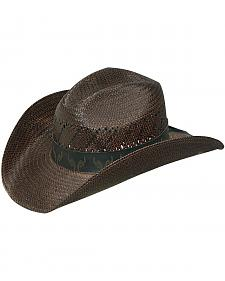 Twister Wallaby Print Hat Band Raffia Straw Cowboy Hat