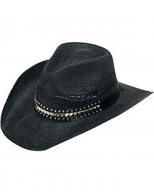 Twister Studded Hat Band Raffia Straw Cowboy Hat