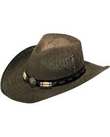 Twister Wooden Beaded Eagle Design Raffia Straw Cowboy Hat