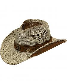 Twister Fashion Raffia Lonestar Band Straw Cowboy Hat