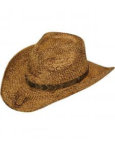 Twister Burnished Flame & Horseshoe Raffia Straw Cowboy Hat