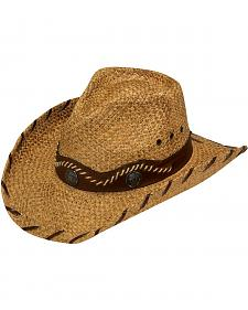 Twister Whipstitched Brim Raffia Straw Cowboy Hat