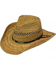 Twister Camo Band Raffia Straw Cowboy Hat