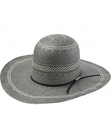 Tony Lama Open Crown Black & White Straw Cowboy Hat