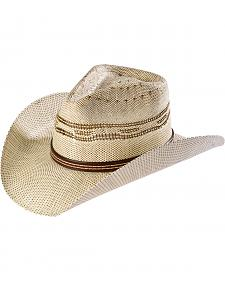 Scala Men's Vented Brown Bangora Straw Cowboy Hat