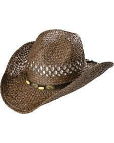 Scala Brown Bonebead Band Straw Cowboy Hat
