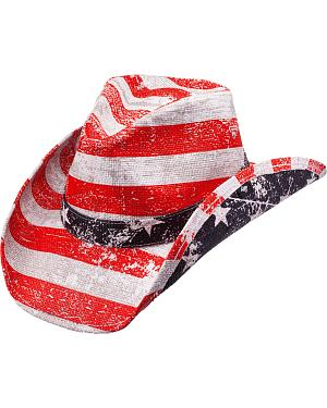 Peter Grimm Striped Patriot Flag Straw Cowboy Hat