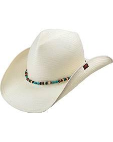 Allegra unisex bead trim cowboy hat ivory