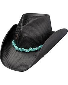 Charlie 1 Horse Tulum Black Straw Cowboy Hat