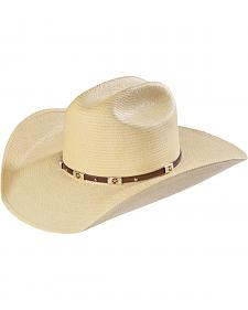 Larry Mahan Alamo Palm Star Concho Straw Cowboy Hat