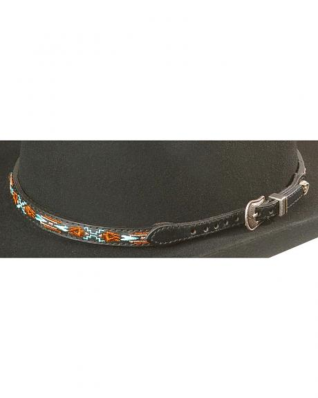 Aztec Embroidered Leather Hat Band