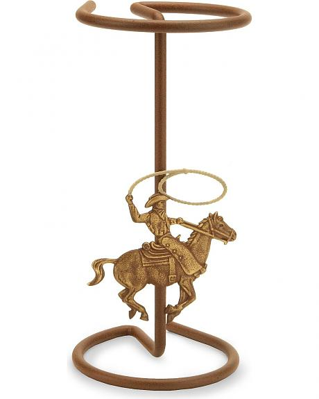 Roping Cowboy Table Top Hat Rack