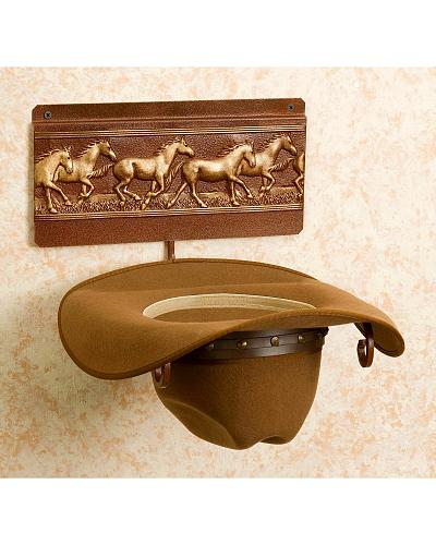 Running Horses Wall Mount Hat Rack Western & Country 559 RH CT Running horse rack