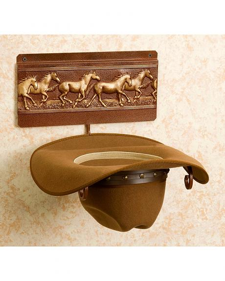 Running Horses Wall Mount Hat Rack