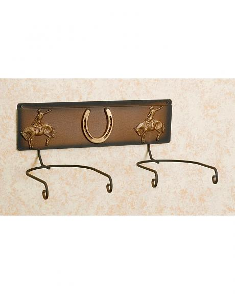 Horseshoe & Cowboy Double Hat Rack