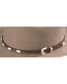 Concho Embellished Leather Hat Band