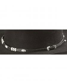 Rawhide & Concho Embellished Black Leather Hat Band