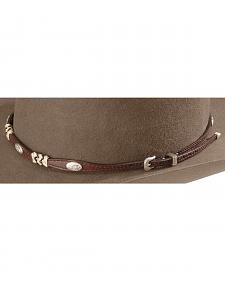 Ribbon & Concho Brown Leather Hat Band