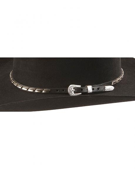 Silver-tone Bar Concho Leather Hat Band