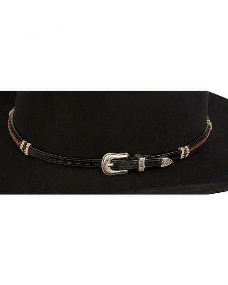 Raised Braided Leather and Rawhide Hat Band