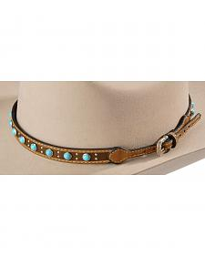 Faux Turquoise Stone Studded Leather Hat Band