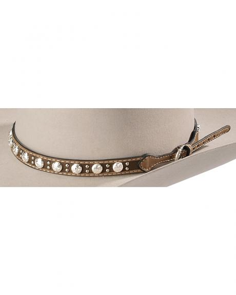 Leather Concho Studded Hat Band
